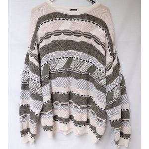 Vintage Geometric Striped Knit Pullover Sweater